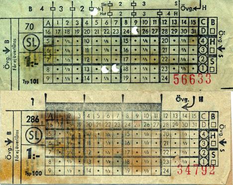 Våra tunnelbanebiljetter, Klockan 13-45 och 23-15, Stockholm (1967)