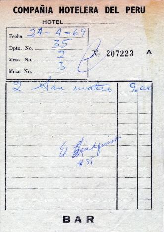 Del 2 av torsdagens middagsmåltid, Hotell Turista, Huancayo (1969)