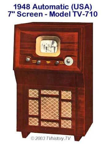 Televisionsapparat med en sjutums bildskärm, Automatic Radio Manufacturing, 1948 (internet)