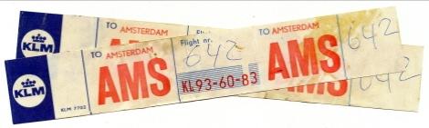 Två av våra bagagepolletteringsremsor, KLM (1970)