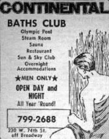 Annons för ett bögbadhus, New York, 1970 (internet)