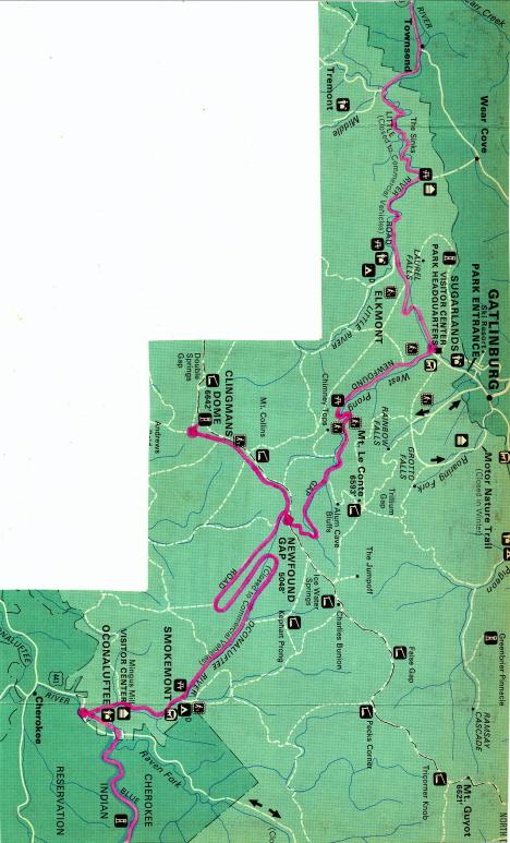 Karta över De rökiga bergens nationalpark, 1971 (broschyr)