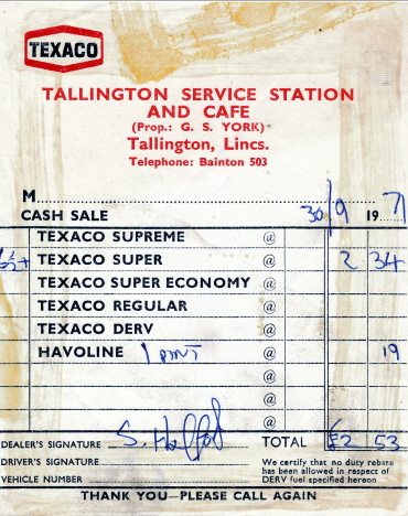 Vårt kvitto på bensin och olja, Tallington (1971)
