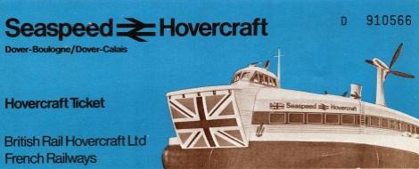 Omslaget till vår gemensamma Hovercraftbiljett, Hovercraftterminalen, Dover (1971)