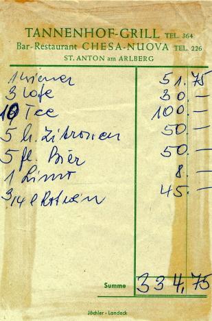 Eds räkning för eftertugget i hotellets grillstuga, S:t Anton (1971)