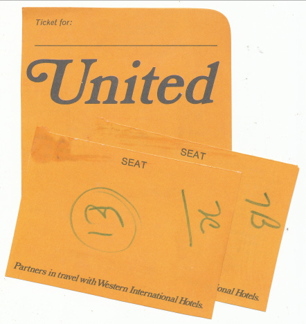 Ett av biljettkuverten och våra stolsnummer för hemresan, O'Hareflygplatsen, Chicago (1972)
