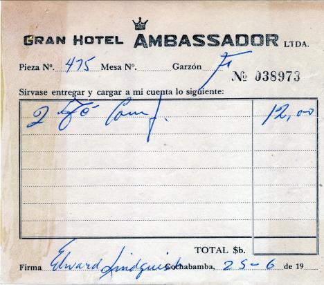 Notan för vårt andra eftermiddagste, Grand hotell Ambassadör, Cochabamba (1973)